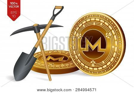 Monero Mining Concept. 3d Isometric Physical Bit Coin With Pickaxe And Shovel. Digital Currency. Cry