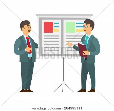 Whiteboard With Text And Data Vector. Man Giving Presentation On Seminar, Boss Listening To Orator A