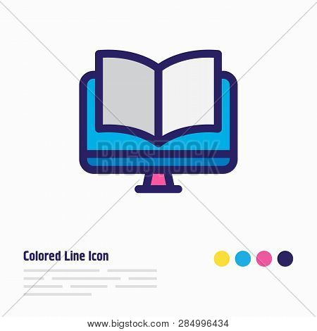 Illustration Of Ebook Icon Colored Line. Beautiful Book Reading Element Also Can Be Used As Online R