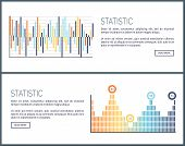 Statistics charts and diagrams visual data web vector. Webpage with text sample, graphics and schemes, visualization of business analysis results info poster
