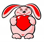 The chubby pink enamored rabbit with heart in hands. poster