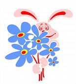Pink enamored rabbit with a bouquet of dark blue flowers. poster