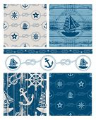 Vector patchwork nautical patterns.  Use to create quilting patches or seamless backgrounds for various craft projects. poster