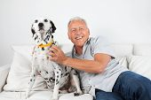 Portrait of happy casual senior man sitting with his pet dog on sofa poster