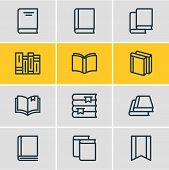 Vector illustration of 12 book reading icons line style. Editable set of encyclopedia, education, read and other icon elements. poster