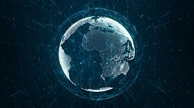 Growing Global Network And Data Connections Concept. Abstract Scientific Technology Data Network Sur
