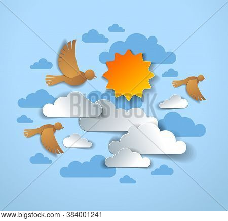 Birds Flock Flying Among Beautiful Clouds And Sun In The Sky, Summer Ease And Peaceful Feeling, Vect