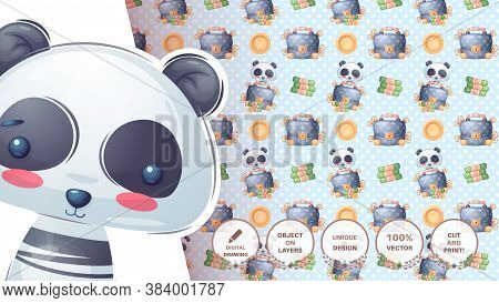 Cute Panda Diplomat - Seamess Pattern. Vector Eps 10