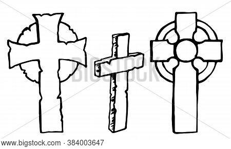 Vintage Shabby Headstones And Celtic Crosses Set. Hand Drawn Doodle Sketch Black Outline Gloomy Grav