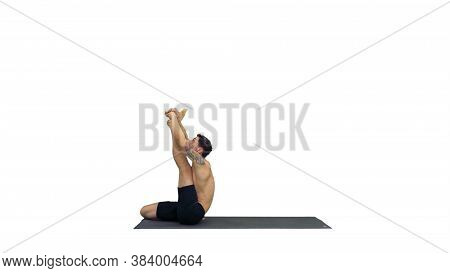 Male Yoga Teacher In Heron Pose Intense Hamstring Stretch Flexibility, Well Being Concepts On White