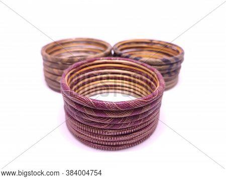 Multicolored Bangles Isolated On White Background. Bangles Are Traditionally Rigid Bracelets, Origin