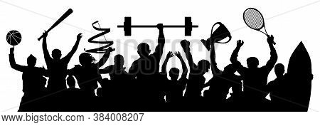 Sports People Set. Crowd Of Athletes. Sportsman Players. Silhouette Vector Illustration