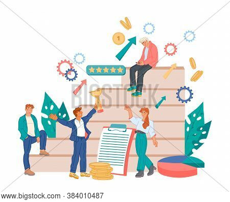 Business Leadership And Successful Effective Teamwork Flat Vector Illustration.
