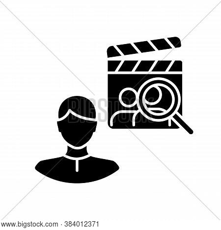 Casting Director Black Glyph Icon. Producer For Filmmaking. Cinema Production Personnel. Hire Crew F