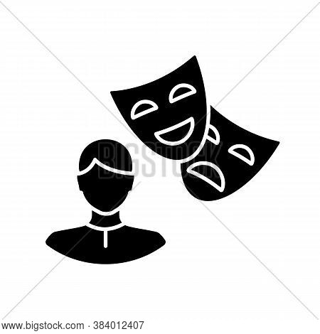 Actor Black Glyph Icon. Theater Performer. Drama Professional. Artist With Theatrical Mask. Broadway