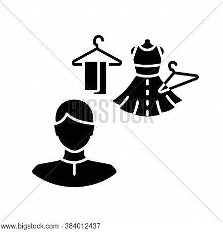 Costume Director Black Glyph Icon. Clothing Designer. Fashion Garment. Couture Studio. Tailor Worksh