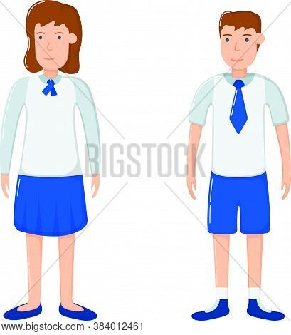Student Girl And Boy Character In School Clothes, Concept Woman Man Standing Isolated On White, Flat