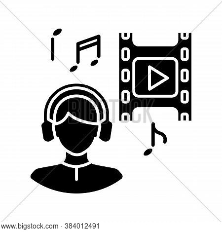 Music Supervisor Black Glyph Icon. Producer For Audio Making. Listen To Song. Composer For Movie Sou