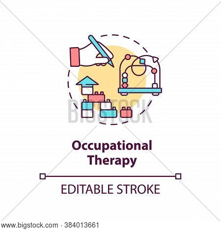 Occupational Therapy Concept Icon. Mental Diseases Therapeutic Treatment, Injury Recovery Idea Thin