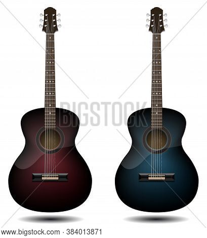 Guitar Set Isolated On White Background. Black And Red And Blue Wooden Guitars. Vector Illustration
