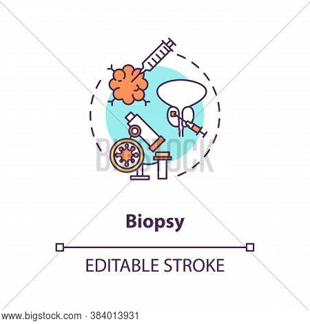 Biopsy Concept Icon. Medical Procedure, Clinical Diagnostics Idea Thin Line Illustration. Extracting