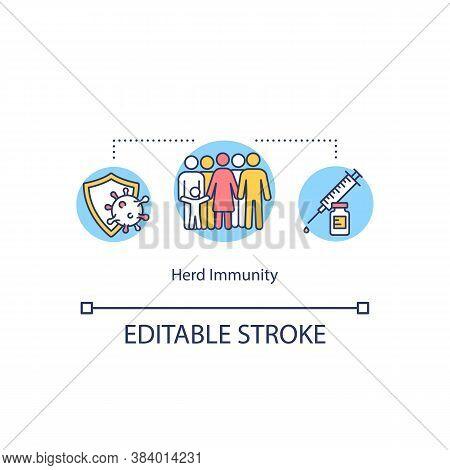 Herd Immunity Concept Icon. Social Immunization Campaign, Vaccination Idea Thin Line Illustration. D