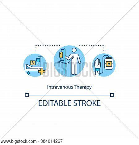 Intravenous Therapy Concept Icon. Medical Procedures, Therapeutic Treatment Idea Thin Line Illustrat