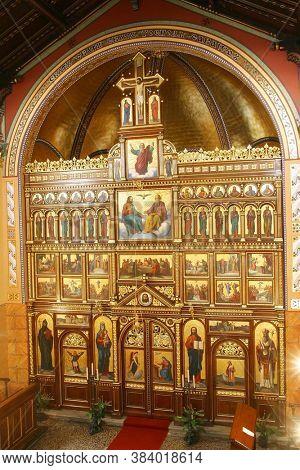 ZAGREB, CROATIA - MAY 22, 2013: Greek Catholic Co-cathedral of Saints Cyril and Methodius in Zagreb, Croatia