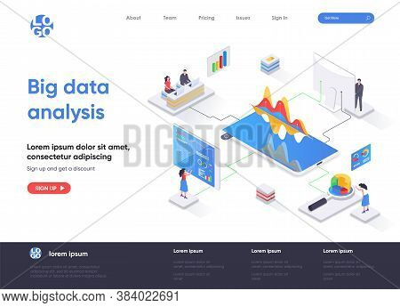 Big Data Analysis Isometric Landing Page. Analytics And Business Intelligence Isometry Concept. Onli