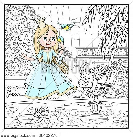 Cute Cartoon Princess Sings With The Birds In Palace Park Near The Pond With A Sculpture Of Cupid Ou