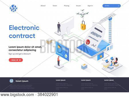 Electronic Contract Isometric Landing Page Design. Online Sign Contract Or Documents Technology Isom