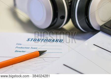 Designer Creative Drawing In Storyboard For Film Movie, Video Pre-production Process In Display Scri