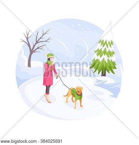 Pet Walking In Winter Snow Cold, Woman With Dog, Vector Isometric Flat Illustration. Girl With Dog O