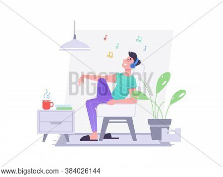 Guy In Headphones Listen Music In Chair At Home, Vector Flat Isolated Character. Young Man Or Teenag