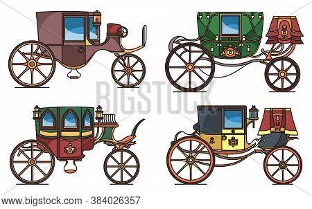 Set Of Vintage Automobile Or Old Car