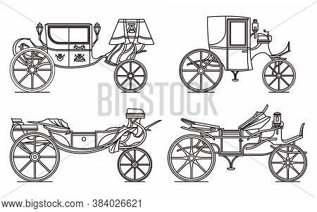 Outline Set Of Retro Cab Or Carriage