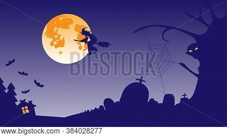 The Background Screensaver For Halloween. Purple Cemetery, Monster, Witch On A Broom, Full Orange Mo
