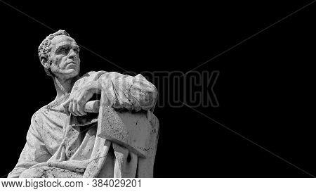 Senator Of Ancient Rome. The Great Orator Lucius Licinius Crassus Old Marble Statue In Front Of Old