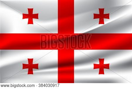 Waving Flag Of Georgia. Vector Illustration. 10eps