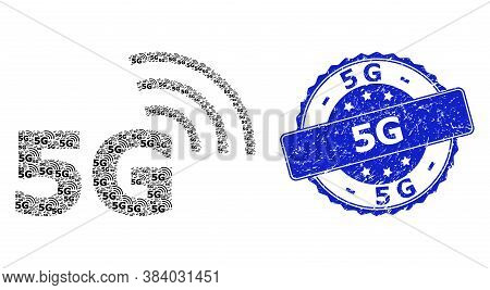 5g Rubber Round Seal And Vector Fractal Collage 5g Symbol. Blue Stamp Seal Has 5g Text Inside Round