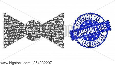 Flammable Gas Grunge Round Stamp Seal And Vector Recursion Collage Bow Tie. Blue Stamp Has Flammable