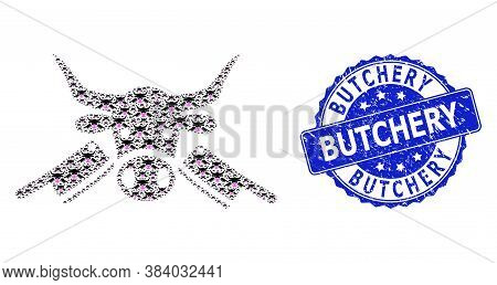 Butchery Scratched Round Watermark And Vector Recursive Mosaic Butchery. Blue Seal Includes Butchery
