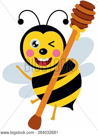 Scalable Vectorial Representing A Happy Bee Carrying A Wooden Honey Spoon, Element For Design, Illus