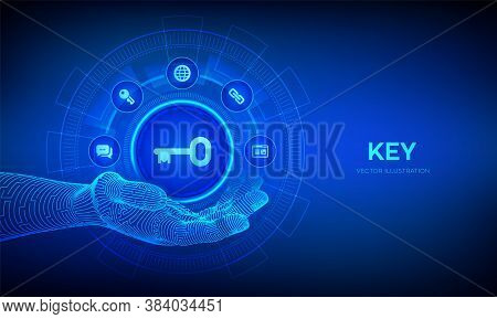 Key Icon In Robotic Hand. Keyword. Key To Success Or Solution. Turnkey Solution And Services Technol