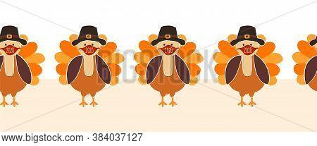 Thanksgiving Turkey Wearing A Face Mask Seamless Vector Border. Turkeys Wearing Coronavirus Pattern