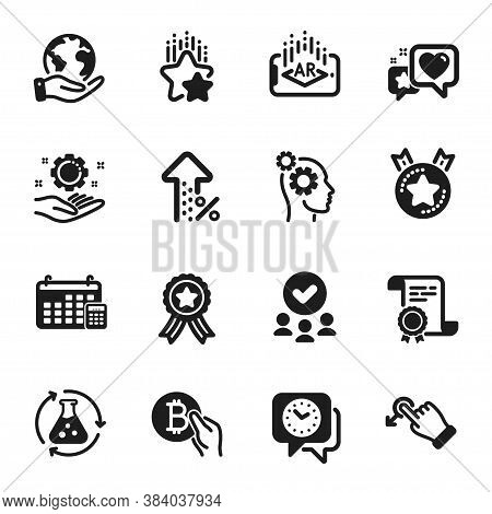 Set Of Technology Icons, Such As Increasing Percent, Heart. Certificate, Approved Group, Save Planet