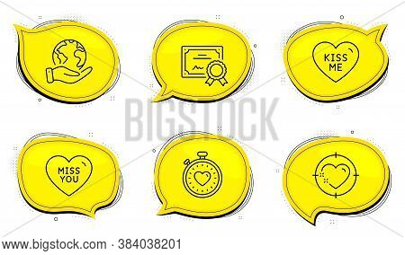 Heartbeat Timer Sign. Diploma Certificate, Save Planet Chat Bubbles. Kiss Me, Miss You And Heart Tar