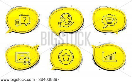 Loyalty Star Sign. Diploma Certificate, Save Planet Chat Bubbles. Coffee Cup, Chart And Question Mar