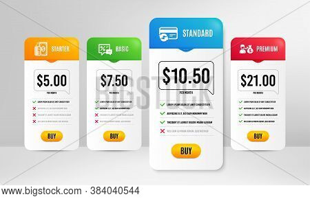 Payment, Discounts And Sallary Icons Simple Set. Price Table Template. Change Card Sign. Cash Money,