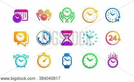 Timer, Alarm And Smartwatch. Time And Clock Icons. Time Management, 24 Hour Clock, Deadline Alarm Ic